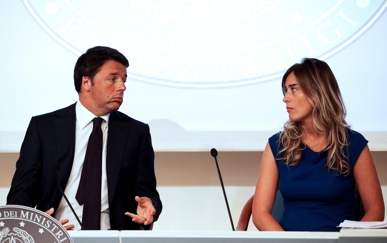 Thủ tướng Ý Matteo Renzi và bà Maria Elena Boschi, bộ trưởng đặc trách cải cách Hiến pháp ngày 01/12/2014 tại Roma.