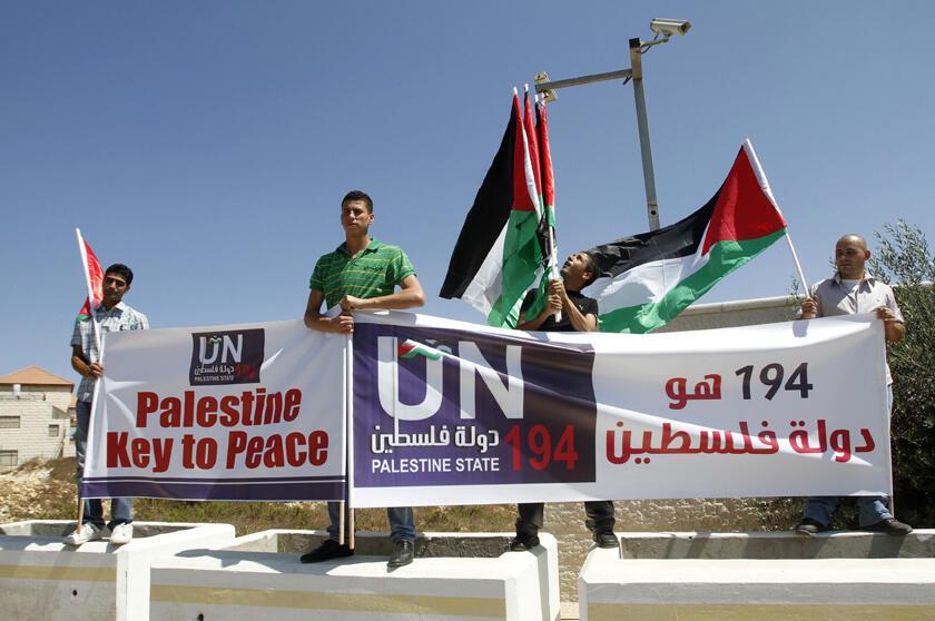 Manisfestação em Ramallah para apoiar pedido de adesão da Palestina á ONU enquanto Estado