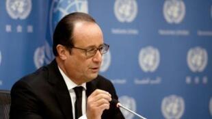 Rais wa Ufaransa, François Hollande, kwenye makao makuu ya Umoja wa Mataifa, New York, Septemba 27, 2015.