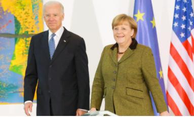 美国总统拜登与德国总理默克尔资料图片