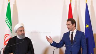 Le chancelier autrichien Sebastian Kurz et le président iranien Hassan Rohani le 4 juillet 2018 à Vienne.