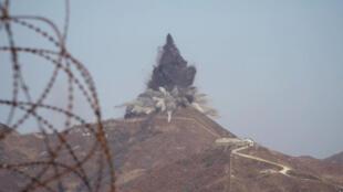 Một đồn canh của Bắc Triều Tiên ở vùng giới tuyến bị nổ sập ngày 20/11/2018.