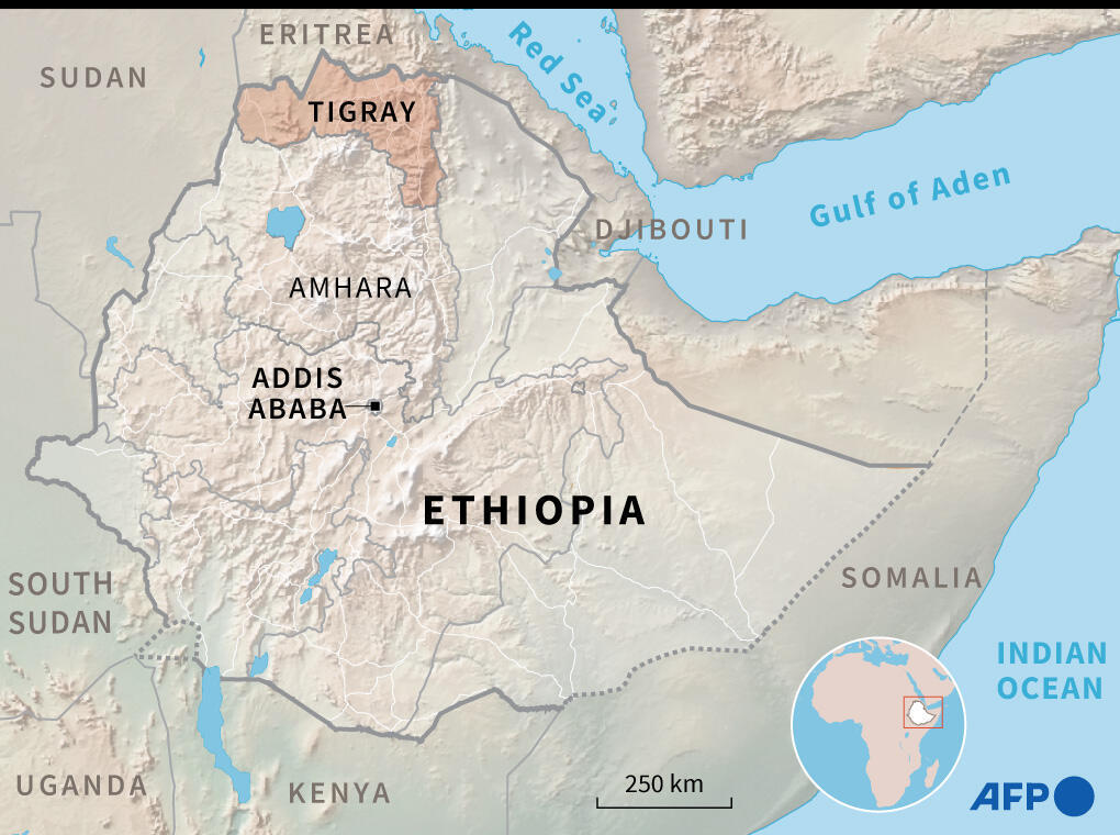 Map of Ethiopia showing the region of Tigray.