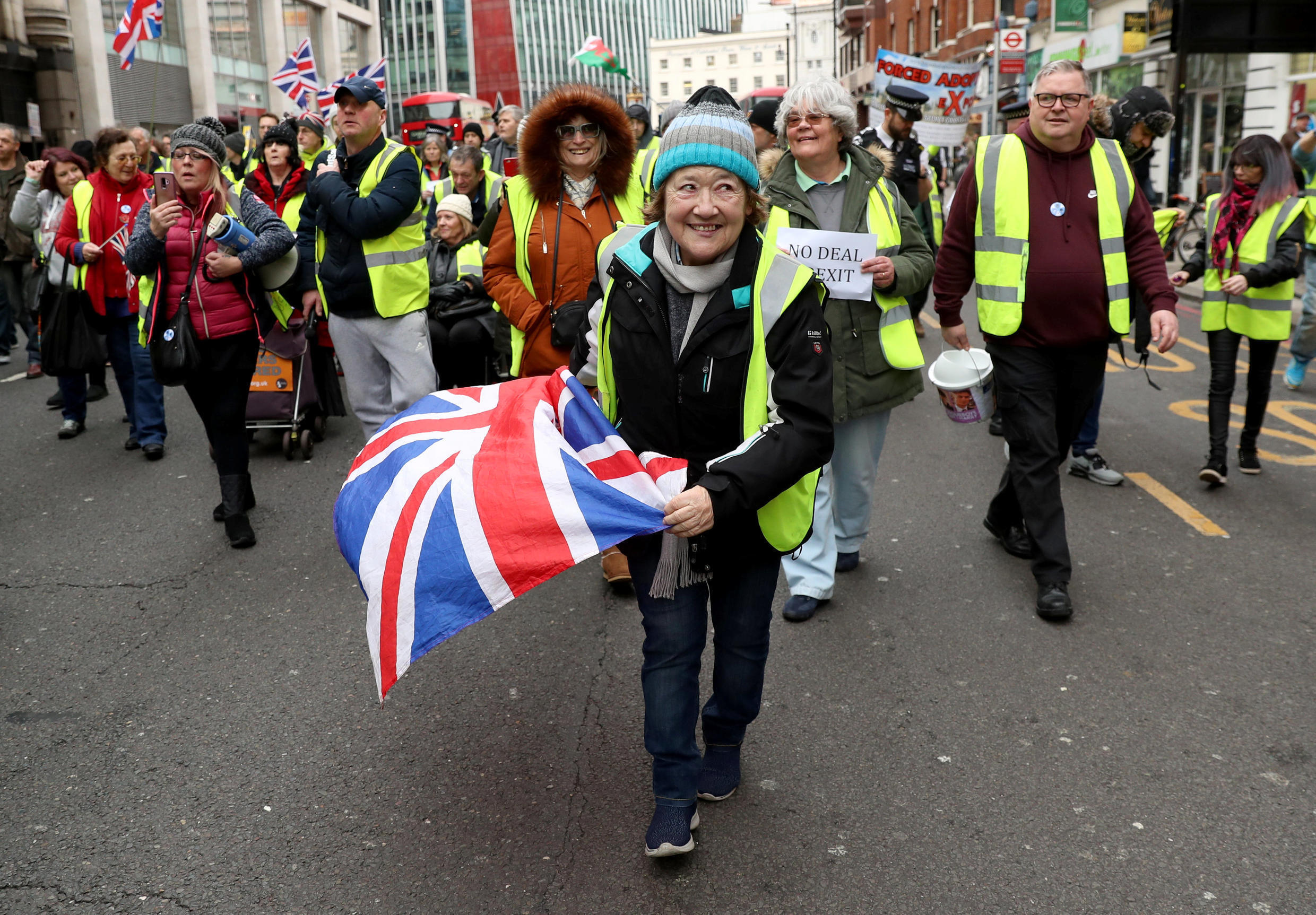 Protesters wearing yellow vests participate in pro-Brexit demonstration march in central London, Britain January 12, 2019.