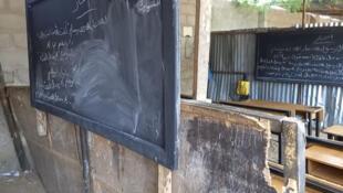 Foto tomada a partir de un video de la AFPTV realizado el  31 de mayo de 2021, que muestra una clase de un colegio privado donde más de un centenar de niños fueron secuestrados en Tegina, Nigeria