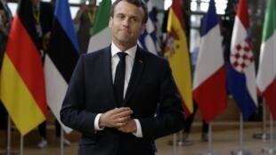法国总统马克龙于2019年4月10日在布鲁塞尔举行的欧洲理事会英国退欧会议开始前抵达。