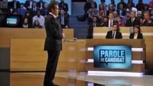 Nicolas Sarkozy en el programa Parole de candidat en el canal TF1, el 12 de marzo de 2012.