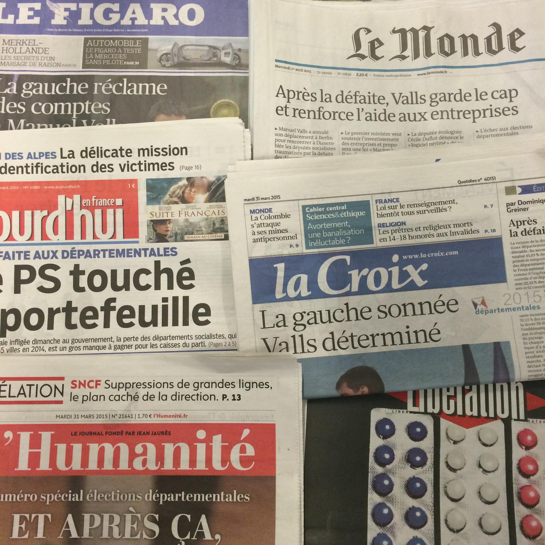 Primeiras páginas dos diários franceses de 31/04/2015