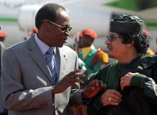 Blaise Compaore Shugaban kasar Burkina -Faso da Muamamr Gaddafi