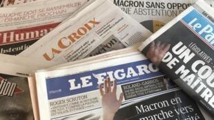 Primeiras páginas dos jornais franceses 12/06/2017