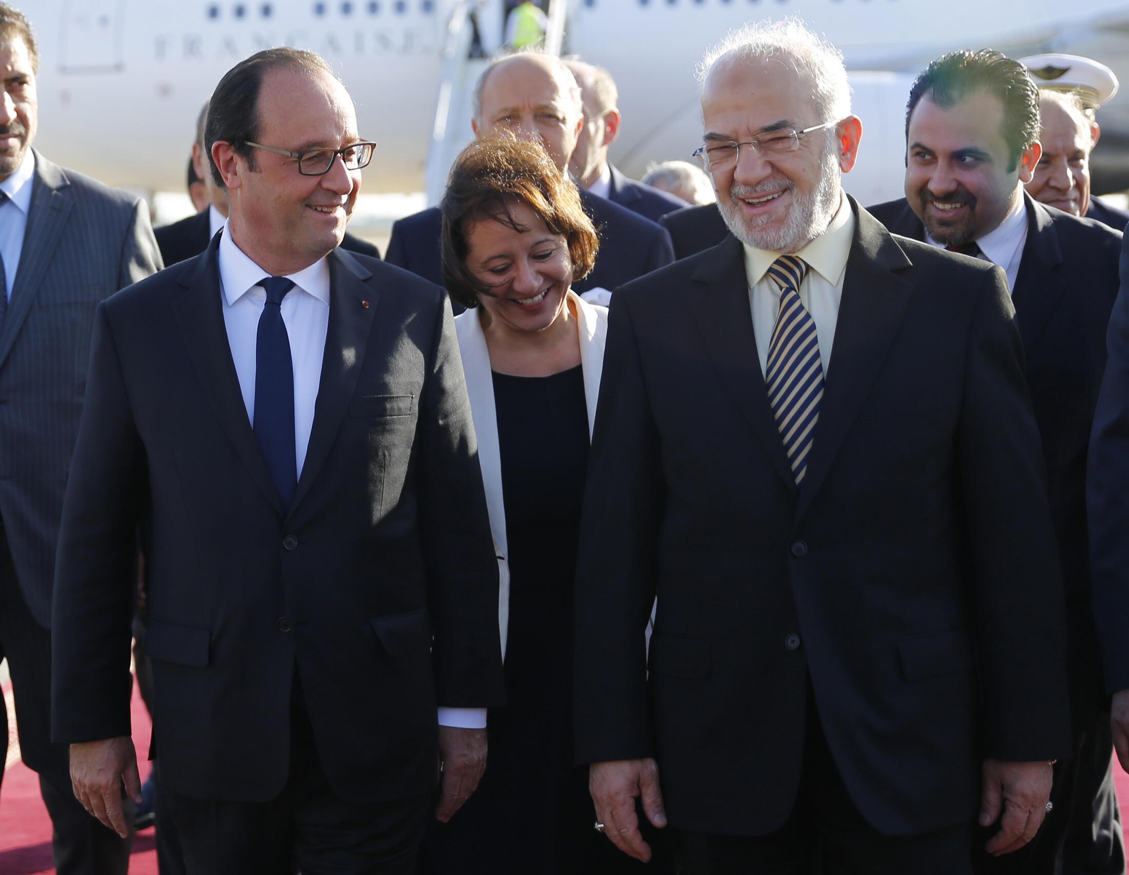 Президент Франции Француа Олланд и министр иностранных дел Ирака Ибрагим аль-Джаафари, Багдад, 12 сентября 2014 г.