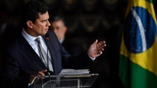 Le nouveau ministre brésilien de la Justice, Sérgio Moro, lors de sa prise de fonctions le 2 janvier 2019 à Brasilia.