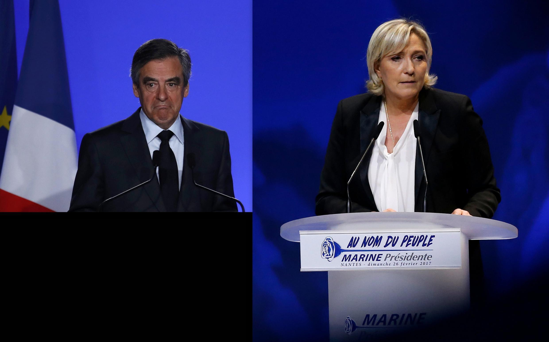 François Fillon (T) và Marine Le Pen, hai ứng cử viên tổng thống Pháp đang phải đối mặt với tư pháp.