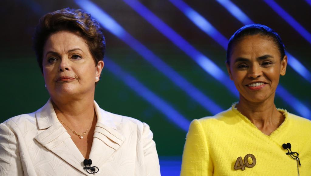 Dilma Roussef (kushoto) pamoja na  Marina silva (kulia), wakati wa mjadala uliyorushwa kwenye televisheni Oktoba 2 mwaka 2014, kabla ya duru ya kwanza ya uchaguzi wa urais