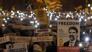加泰羅尼亞民眾2018年1月16日夜在巴塞羅那示威要求釋放因推動獨立而被監禁的加泰領導人