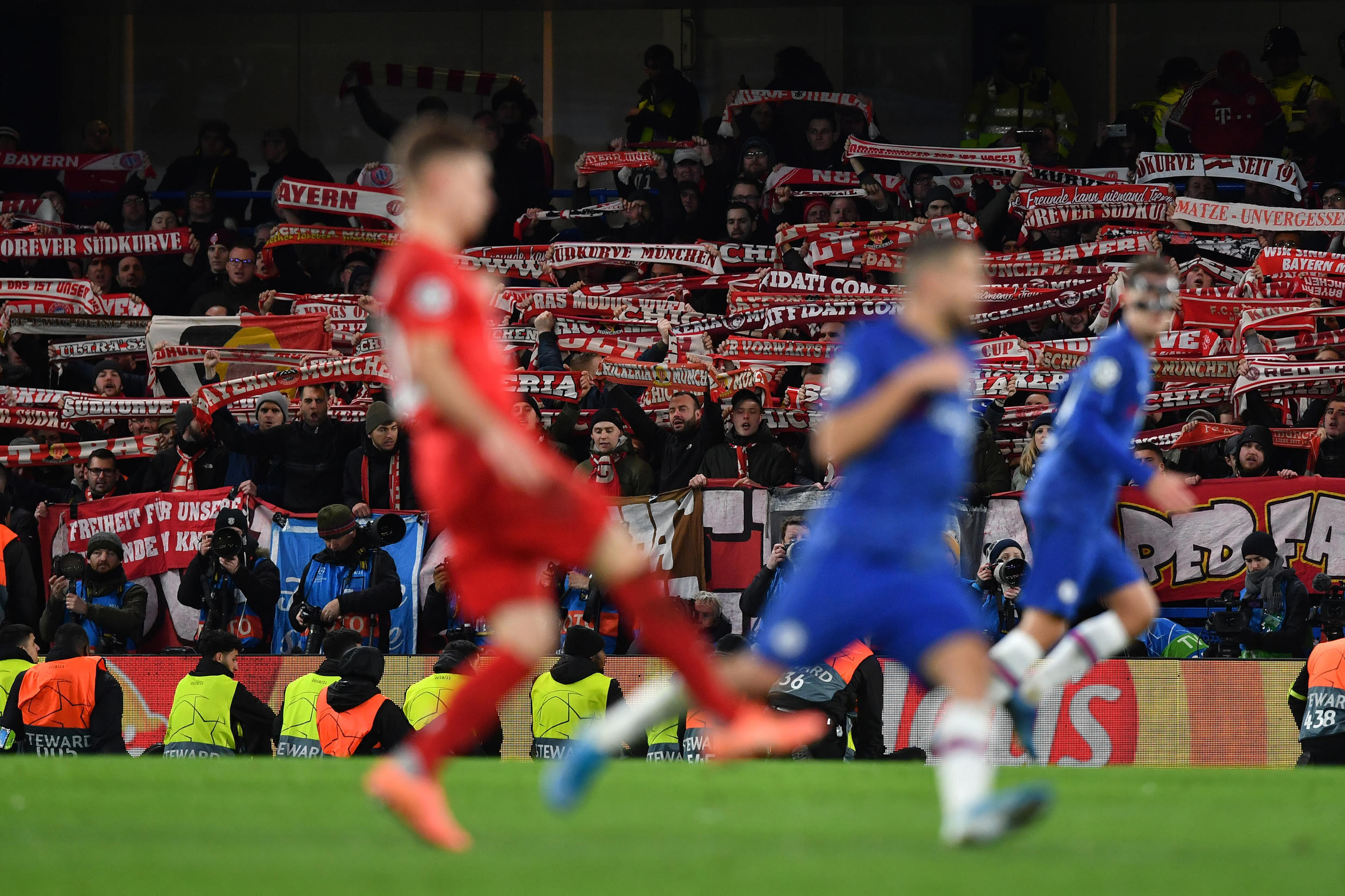 Bayern fans at Chelsea's Stamford Bridge for last month's first leg