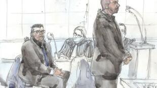 Croquis d'assises du 14 janvier 2019, où l'on voit Antoine Q. (g) et Nicolas R, les deux policiers accusés du viol d'une Canadienne en avril 2014.