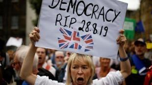 Una manifestante anti Brexit denuncia en su pancarta que la democracia ha muerto el 28 de agosto de 2019.