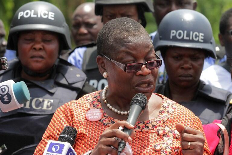 """Leader of Bring Back Our Girls movement Oby Ezekwesili speaks to the press as Nigerians across the nation press for the release of the missing Chibok schoolgirls during a rally in Abuja, on April 14, 2016. Nigeria's government said it was studying a """"proof"""