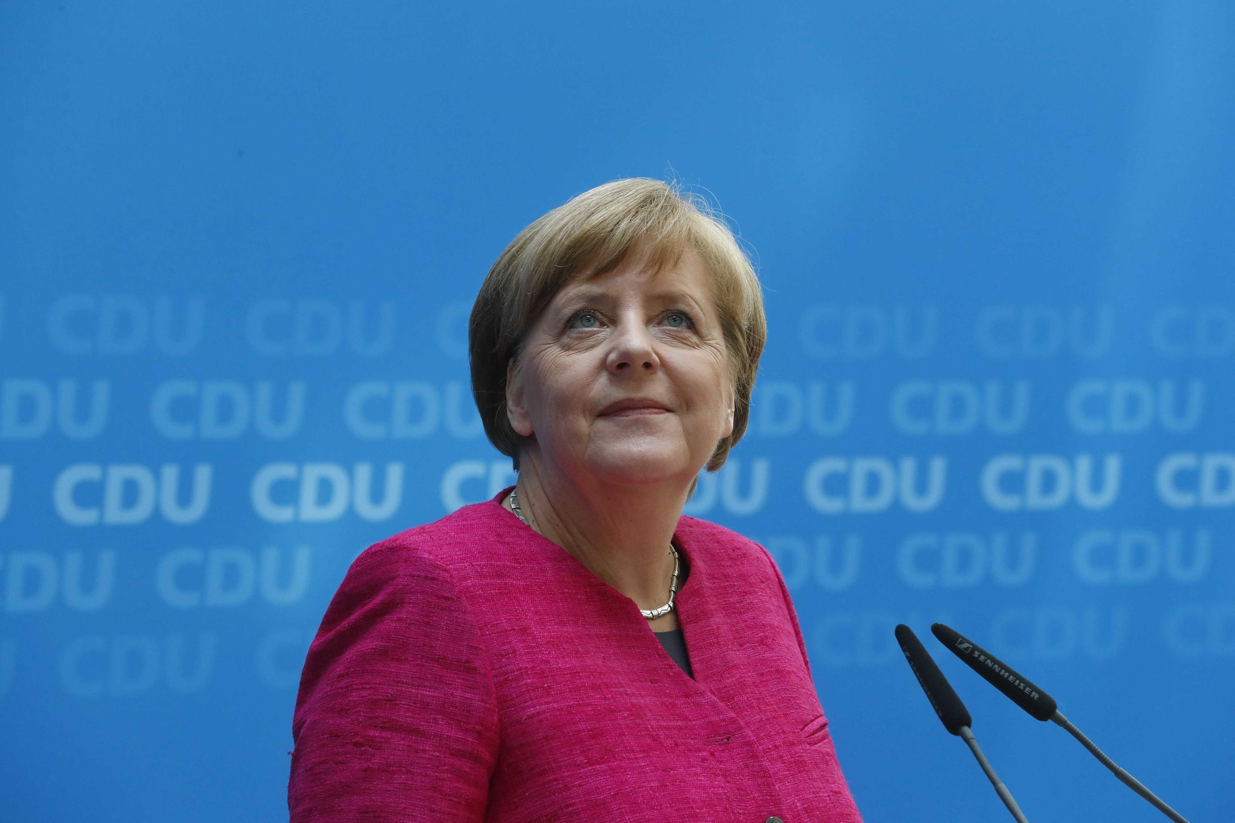 German Chancellor Angela Merkel during a press conference in Berlin, Germany, May 15, 2017.