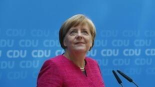 Angela Merkel durante una conferencia de prensa en Berlín, Alemania, el 15 de mayo de 2017.