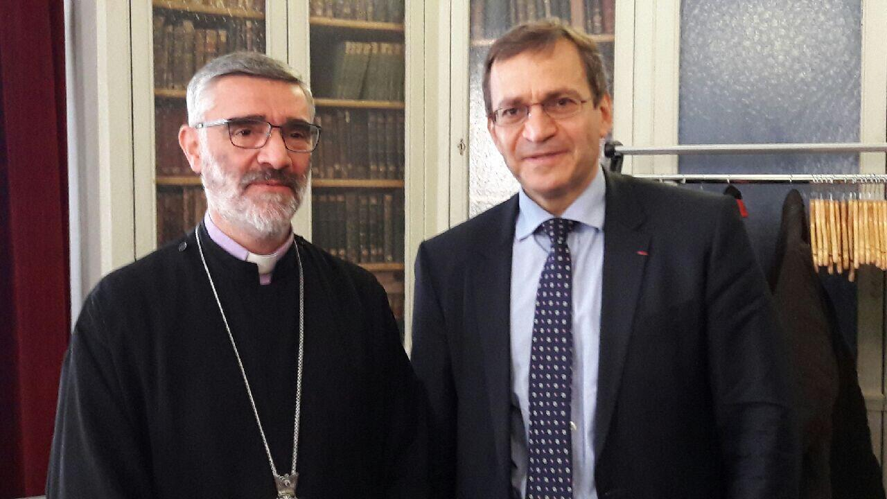Monsignor Chahane Sarkissian, Archbishop of Armenians of Syria in Aleppo (left), with Patrick Karam, president of French NGO the Coordination of Eastern Christians in Danger, in Paris on 10 May 2017.