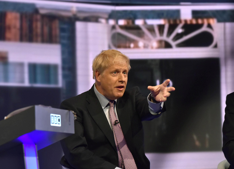 Ông Boris Johnson trong cuộc tranh luận trên đài truyền hình với các đối thủ giành ghế thủ tướng Anh. Ảnh 18/06/2019.