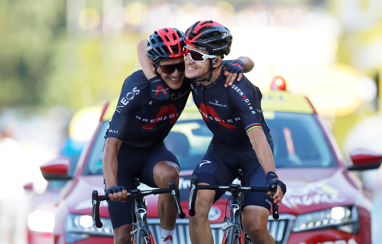 Michal Kwiatkowski y Richard Carapaz llegaron juntos a la meta de la etapa 18 del Tour de Francia. Victoria de etapa para el polaco y maillot de la montaña para el ecuatoriano.