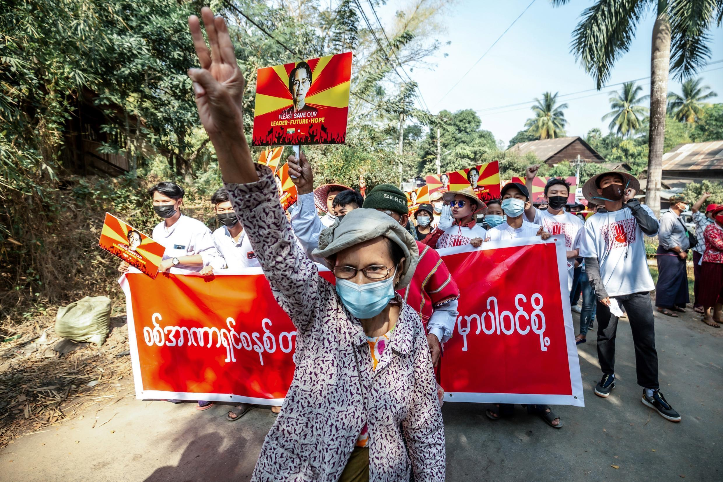 Thousands gathered across Myanmar to protest against the military coup