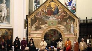 "Pope Benedict XVI attends interreligious meeting ""prayer for peace"" in Assisi, Italy."