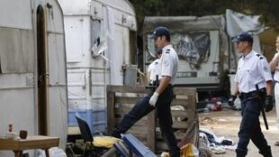 French police inspect an illegal Roma camp in Aix-en-Provence