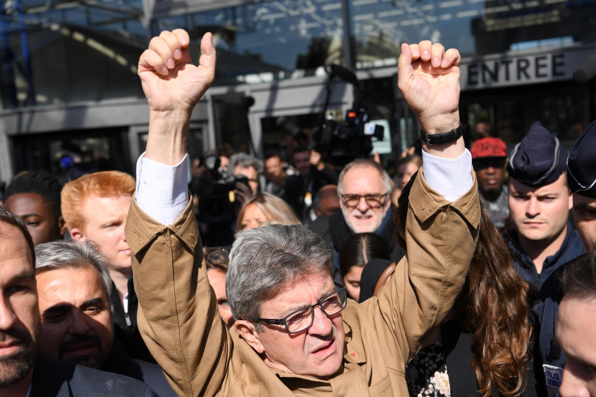 Jean-Luc Mélenchon, in fighting form after the first day of his trial on charges of rebellion.