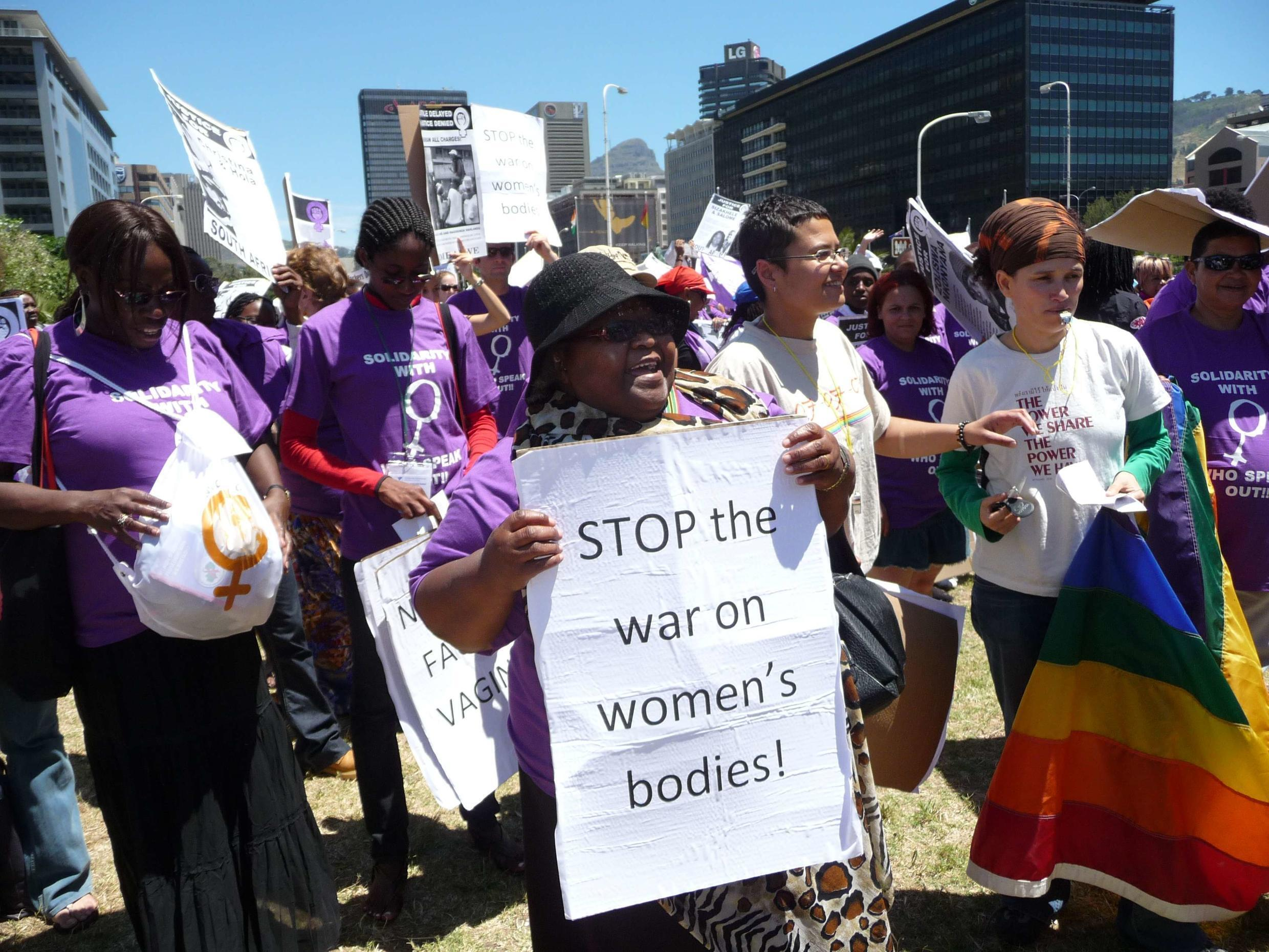 Women in the streets of Cape Town marching against gender-based violence