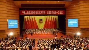 圖為北京政協十三屆一次會議