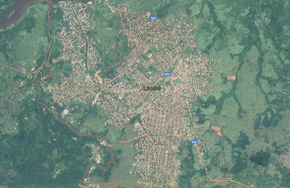 Vue satellite de la ville de Luebo, dans le Kasaï, en RDC.