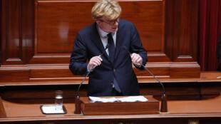 Marc Fesneau, chef de groupe MoDem à l'Assemblée Nationale lors du Congrès du Parlement français le 9 juillet 2018 à Versailles.