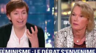 Debate no canal BFMTV reuniu a feminista Caroline de Hass e a apresentadora de rádio Brigitte Lahaie. 10/01/2018