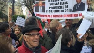 Protesto em Paris de emigrantes lesados do BES, 25 de Fevereiro de 2017.