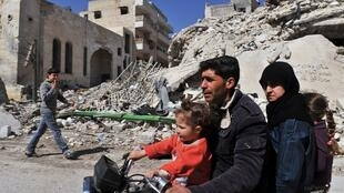 La ville de Maarat el-Numan, dans le nord-est de la Syrie, le 20 mars 2013.