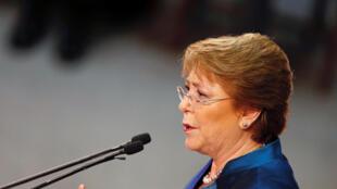 La presidenta de Chile, Michelle Bachelet, el 21 de mayo 2016 en Valparaiso para su mensaje anual  ante el Congreso