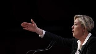 Would-be presidential candidate Marine Le Pen at a rally in Strasbourg