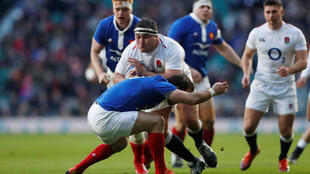 England v France - England's Jamie George in action with France's Morgan Parra, Twickenham, London, 10 February 2019