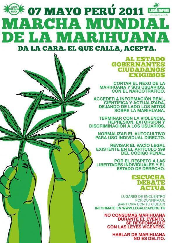 El afiche de la marcha este 7 de mayo en Perú advierte en letras pequeñas a los usuarios de abstenerse de consumir marihuana durante el acto pues es ilegal en este país