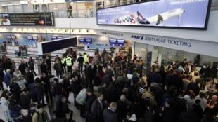 Hành khách chờ đợi tại quầy vé hãng hàng không Malev tại phi trường Franz Liszt ngày 03/02/2012.