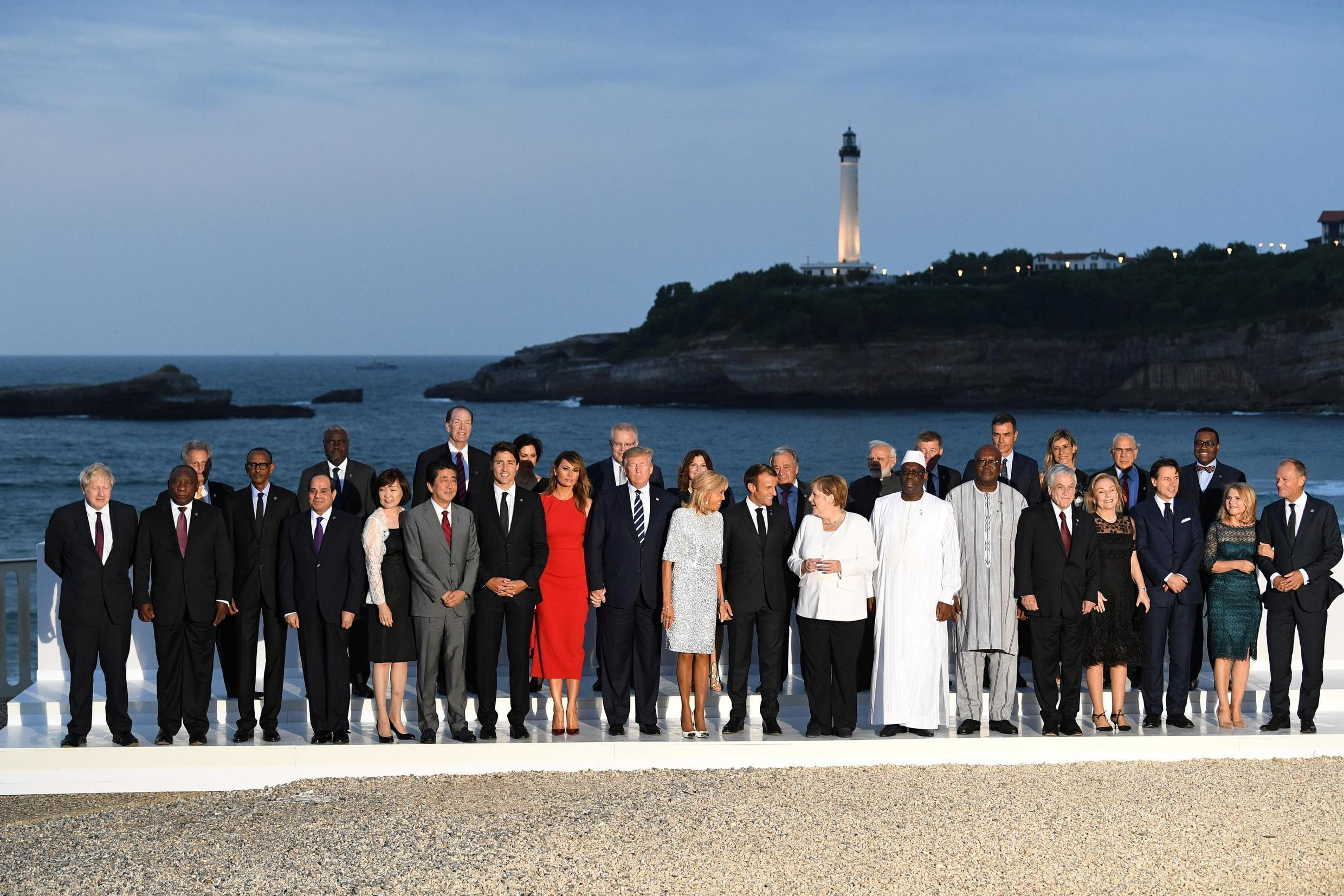A holiday snap with a difference: the G7 family photo, Biarritz, 25 August 2019.