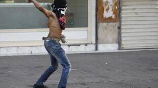Un manifestante anti Gobierno en Manama, Bahréin.