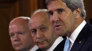 Daga Dama- John Kerry na Amurka, Laurent Fabius Faransa da William Hague na Birtaniya