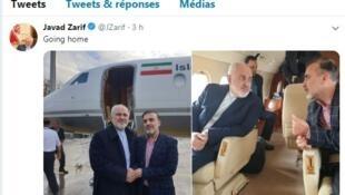 នៅលើទំព័រ Twitter របស់លោកJavad Zarif មានបង្ហោះរូបថតប៉ុន្មានសន្លឹក ស្តីពីការធ្វើដំណើរត្រលប់មកអ៊ីរ៉ង់វិញ របស់លោក Massoud Soleimani