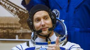 Thomas Pesquet, à Baïkonour, au Kazakhstan, peu avant son décollage, le 17 novembre 2016.