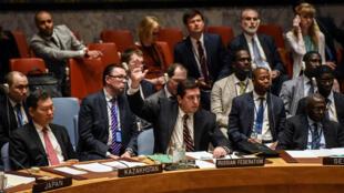 La Russie, par la voie de son ambassadeur à l'ONU, Vladimir Safronkov, a opposé son huitième veto à une résolution de l'ONU sur la Syrie, le 12 avril 2017.